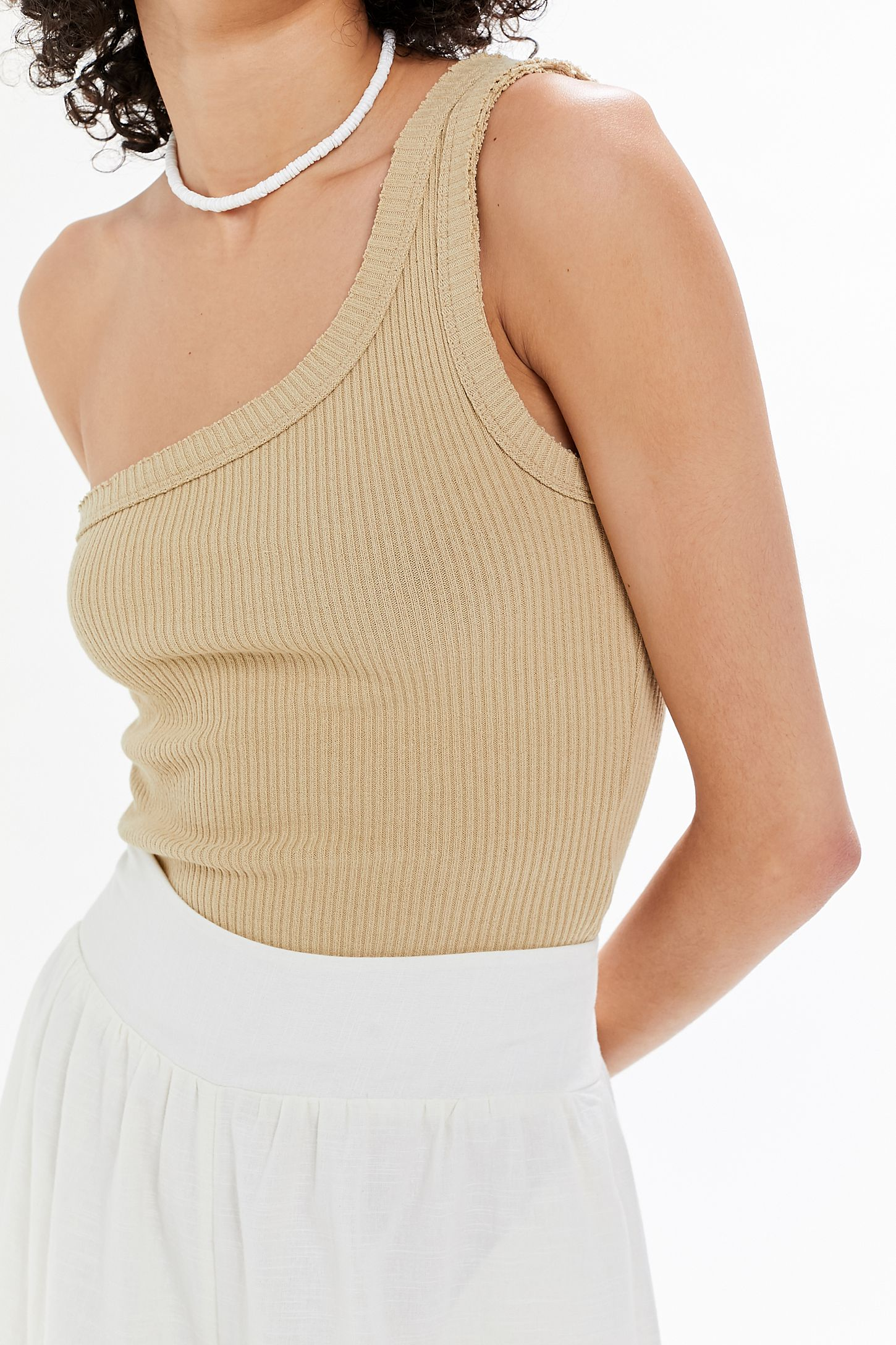 b1b2bf8f43b UO Ribbed One-Shoulder Tank Top | Urban Outfitters