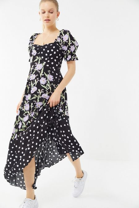 33c3bb43b866 UO Margarete Mixed Print Asymmetrical Maxi Dress
