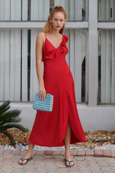 0df74fceeb UO Flamenco Ruffle Tie-Back Slip Dress