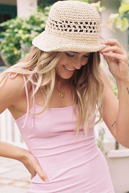 28700892a05 UO Emma Straw Bucket Hat