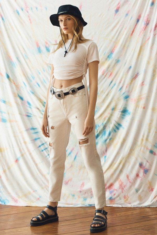 best place for color brilliancy special selection of BDG High-Waisted Mom Jean – Destroyed White Denim