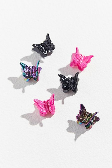 set of all 4 x  cards of butterfly glitter hair clips KN