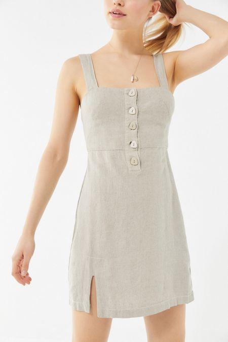 aa77af99910 UO Avalon Linen Button-Front Mini Dress