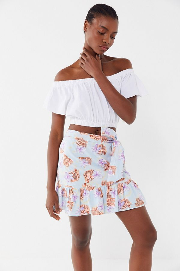 76a56c46de UO Kate Floral Ruffle Wrap Mini Skirt   Urban Outfitters