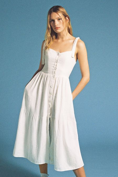 622df221f7 UO Positano Linen Tie-Shoulder Midi Dress