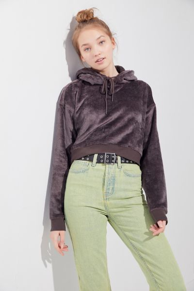 UO Canyon Fleece Cropped Hoodie Sweatshirt