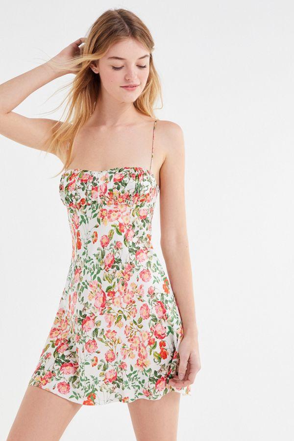 d2688c31e0a14 Bec + Bridge Camellia Delights Floral Silk Mini Dress   Urban Outfitters