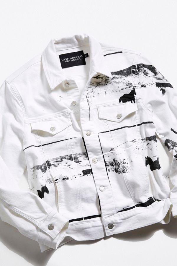Sortenstile von 2019 verkauf usa online größte Auswahl an Calvin Klein X Andy Warhol Modern Landscape Denim Trucker Jacket