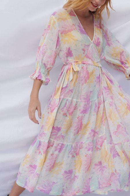 556e9e27ee UO Donatella Crinkle Tiered Ruffle Wrap Dress