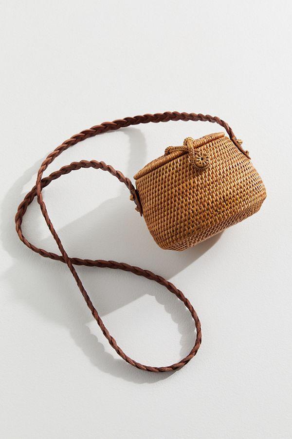 design intemporel 4a2aa 65174 Mini sac à bandoulière en paille à dessus plat