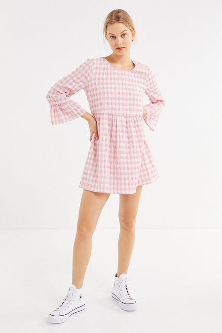 063816177f UO Seersucker Long Sleeve Mini Dress. Quick Shop