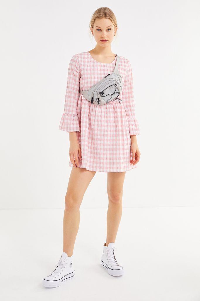 Uo Seersucker Long Sleeve Mini Dress Urban Outfitters