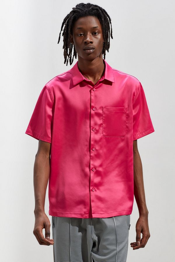 9a31b4fec UO Solid Satin Short Sleeve Button-Down Shirt | Urban Outfitters