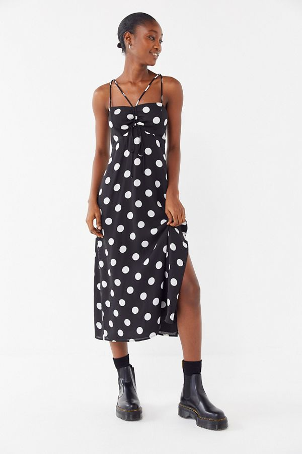 8af6bce2bb52 UO Polka Dot Strappy Cinched Slip Dress | Urban Outfitters