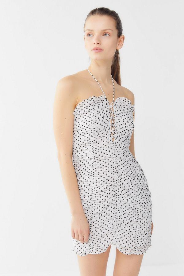 Polka Dot Ruched Mini Dress