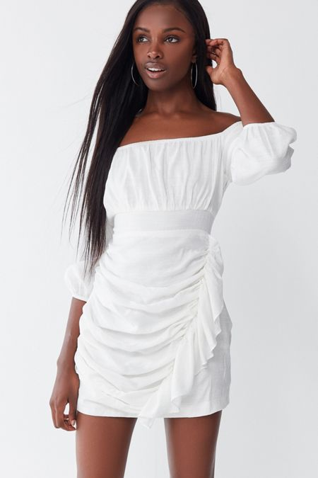 d4926fd09b38 UO Ruffle Off-The-Shoulder Mini Dress