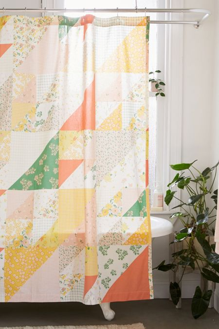 Floral Patchwork Print Shower Curtain