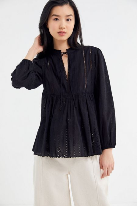 3b23ca2f57 UO Eva Eyelet Long Sleeve Blouse