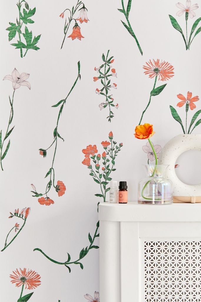 Georgina Floral Removable Wallpaper Urban Outfitters