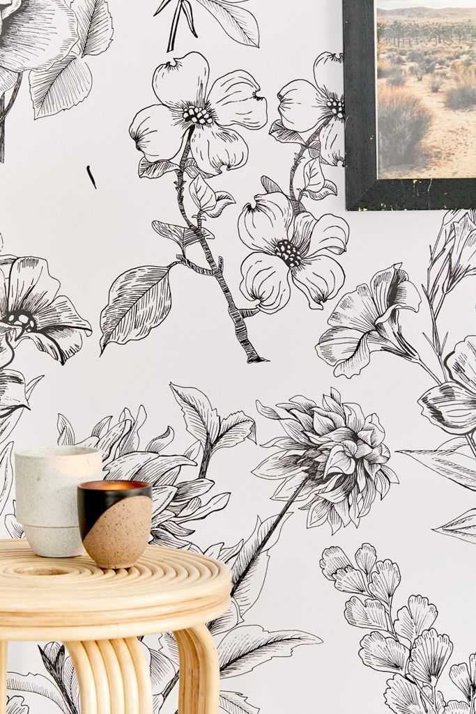 Mckenna Etched Floral Removable Wallpaper Urban Outfitters