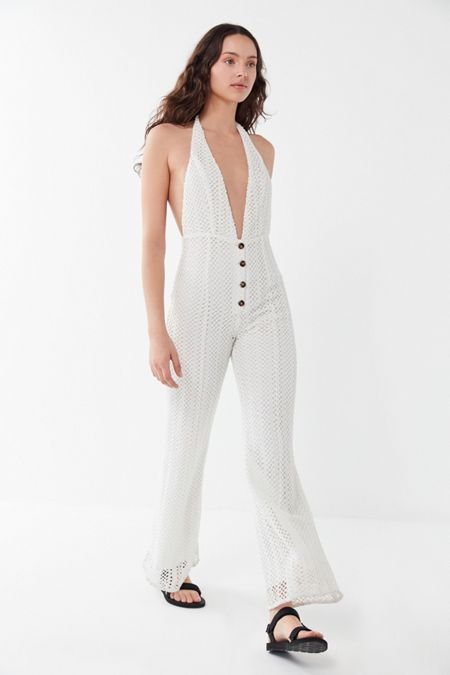 74abf949aa39 Line   Dot Zurie Crochet Plunging Halter Jumpsuit