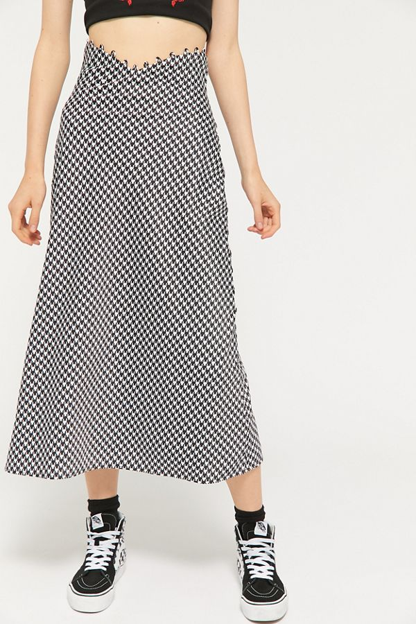 4b49fd9bd C/meo Collective Provided Houndstooth Midi Skirt | Urban Outfitters