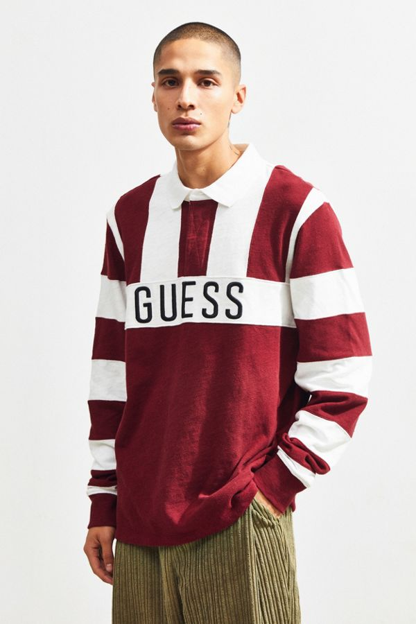 fb8100931037 GUESS Colorblock Rugby Shirt | Urban Outfitters