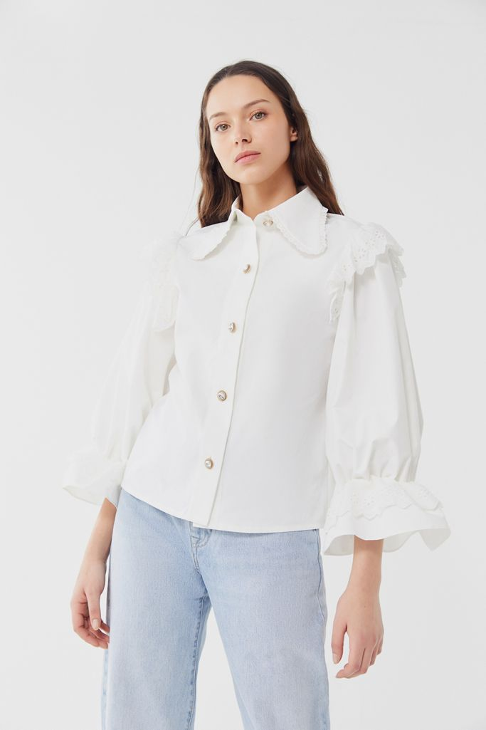 Sister Jane Bow Blouse With Sporty Trim In Floral Spot
