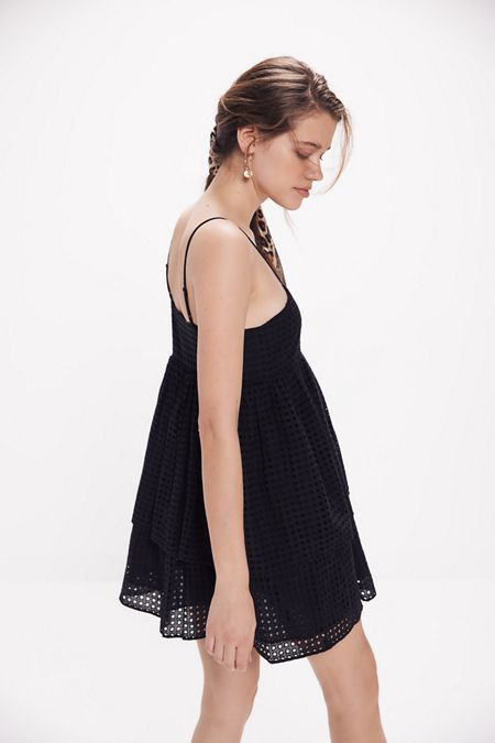 9aa28649064 UO Katrina Eyelet Tiered Ruffle Mini Dress