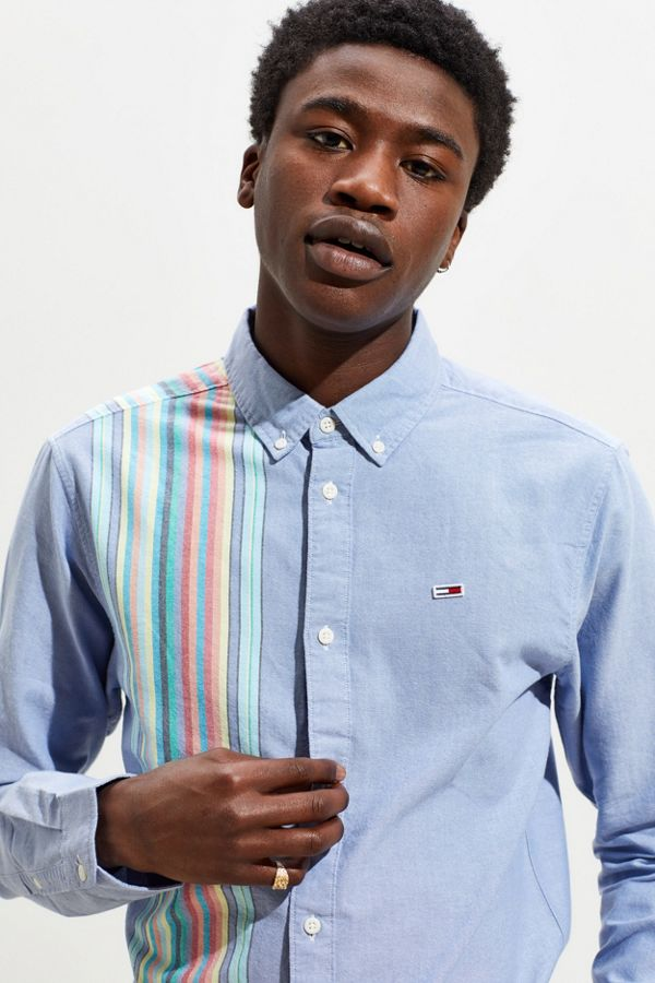 60fae98d438e Tommy Jeans Engineered Stripe Button-Down Shirt | Urban Outfitters