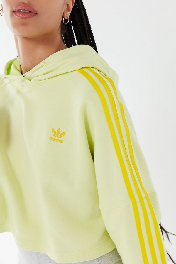 adidas Tonal 3 Stripes Cropped Hoodie Sweatshirt