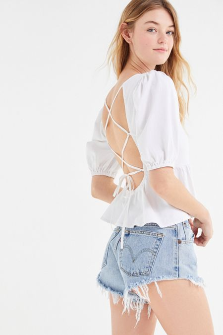 39f6f12b033c7 UO Rosaleen Strappy Tie-Back Pelum Top