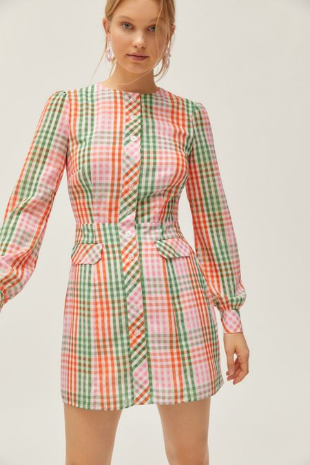 22d035c87299 The East Order Romee Checkered Long Sleeve Mini Dress