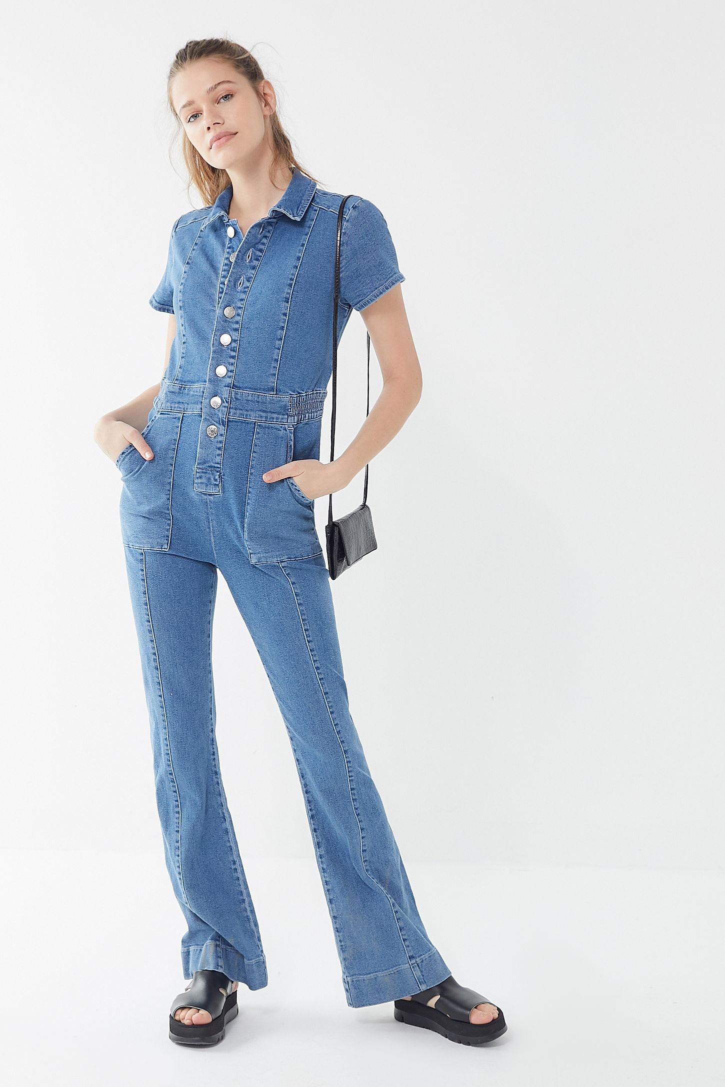 los angeles many fashionable biggest discount BDG '70s Denim Collared Button-Front Jumpsuit
