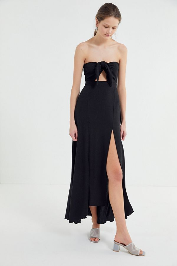 3902be0b7f9 Slide View  1  Lioness Adrianne Strapless Tie-Front Maxi Dress