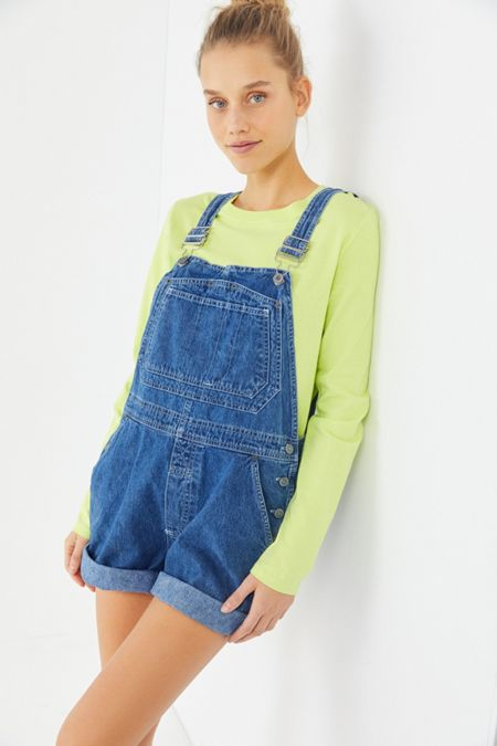 c864e20a68 Urban Renewal Remnants Slouchy Textured Shortall Overall.  59.00. Black  Multi. Vintage  90s Denim Shortall Overall