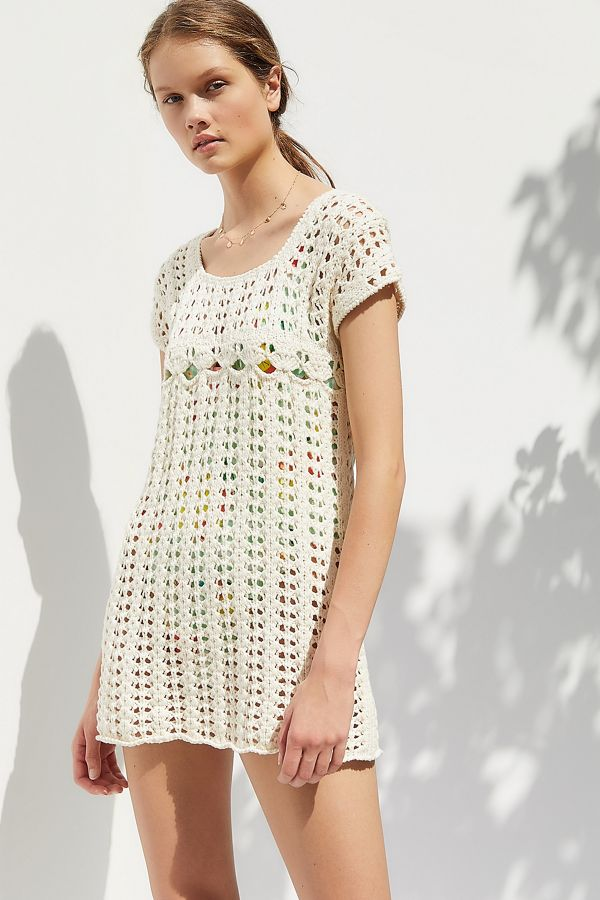 Uo Peek A Boo Crochet Mini Dress Urban Outfitters