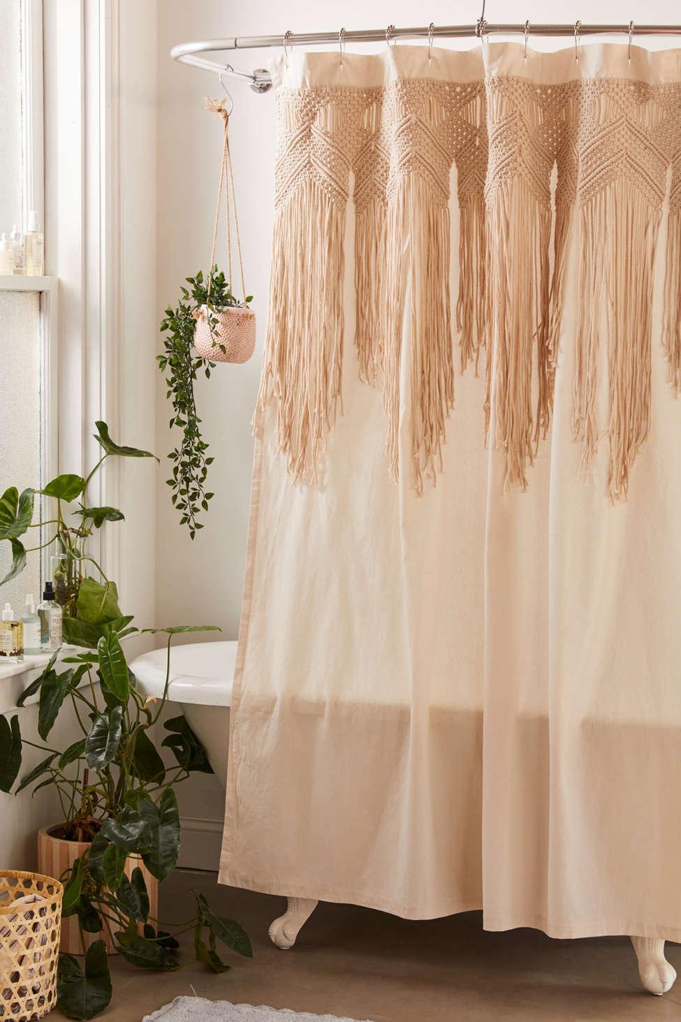 Slide View: 1: Macramé Shower Curtain