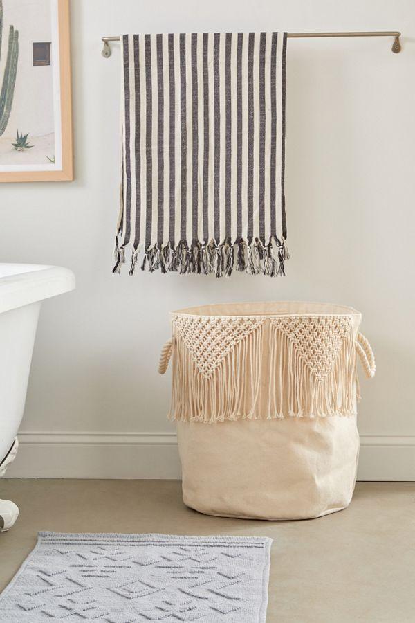Slide View: 1: Macramé Canvas Laundry Bag