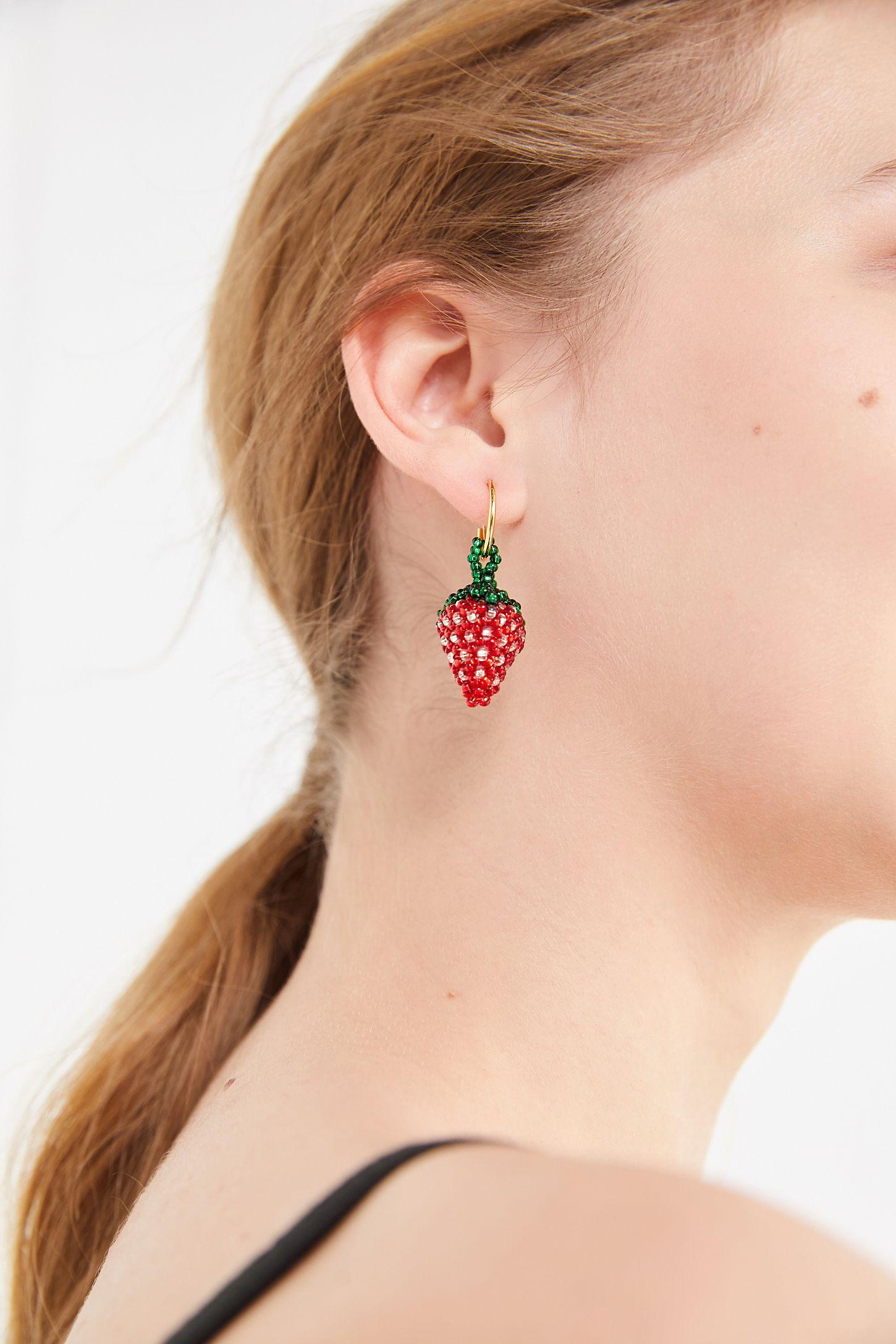 Pura Utz Beaded Strawberry Single Earring