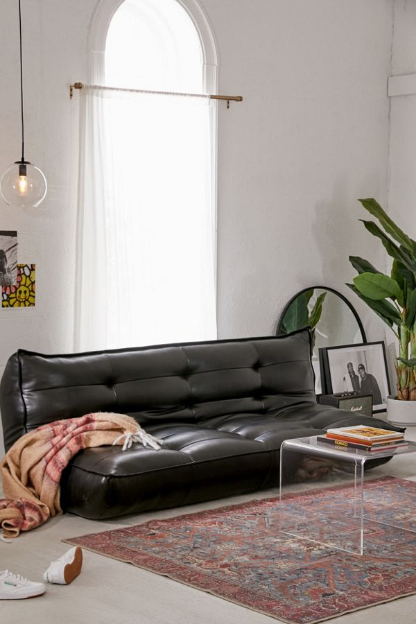Swell Greta Black Recycled Leather Xl Sleeper Sofa Short Links Chair Design For Home Short Linksinfo