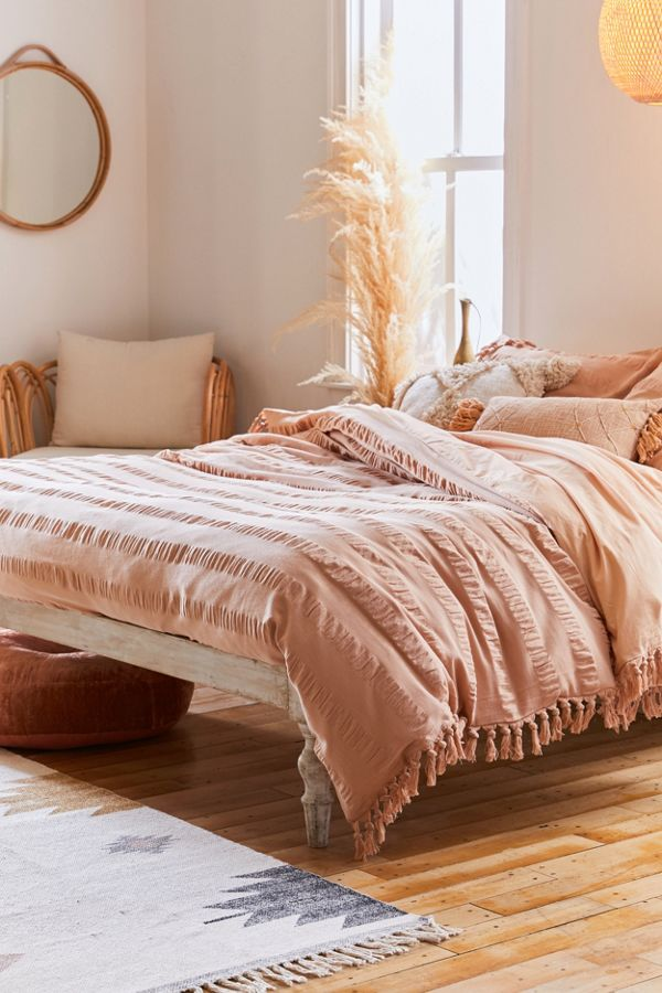 Slide View: 1: Riley Seersucker Fringe Duvet Cover