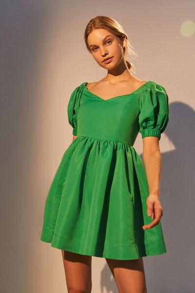 Perseverance London Ottoman Puff Sleeve Mini Dress