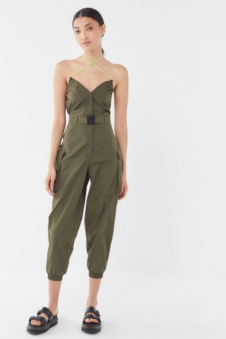 c995d2bae51 UO Cameron Nylon Belted Halter Jumpsuit