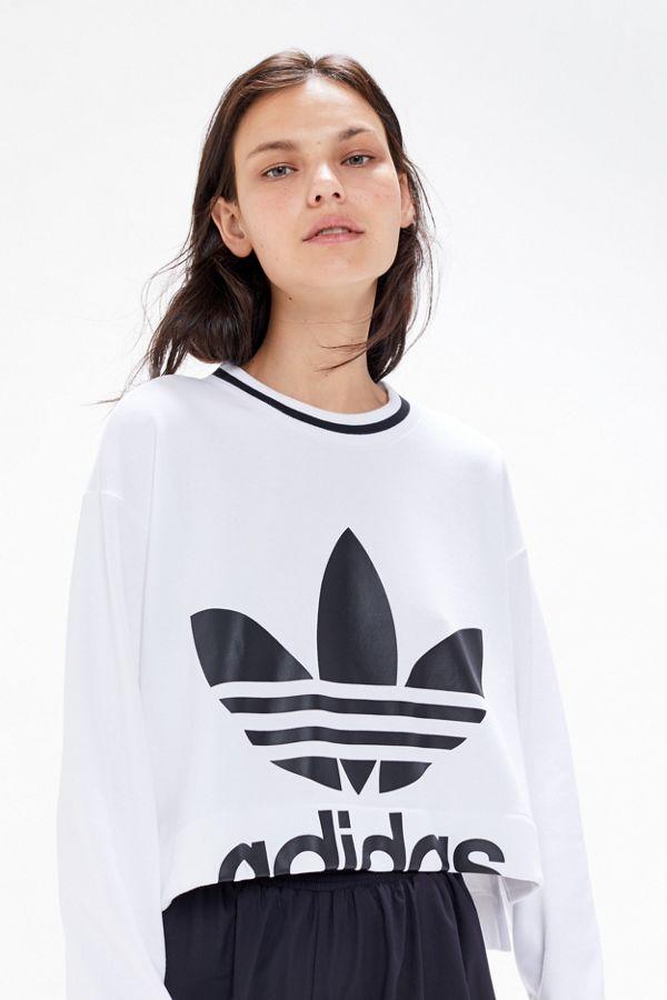 Womens adidas Trefoil Cropped Sweatshirt