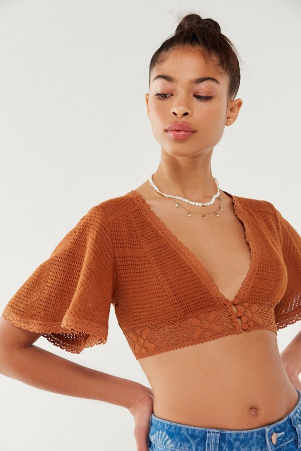 Uo Deja Crochet Cropped Top Urban Outfitters