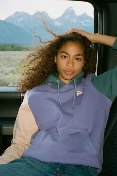 bcd407d7 FILA UO Exclusive Dericia Colorblock Hoodie Sweatshirt