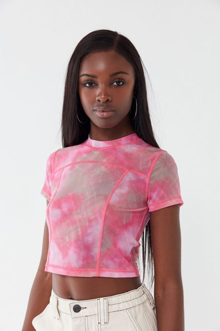 89f73f022aed3 UO Every Morning Tie-Dye Mesh Tee