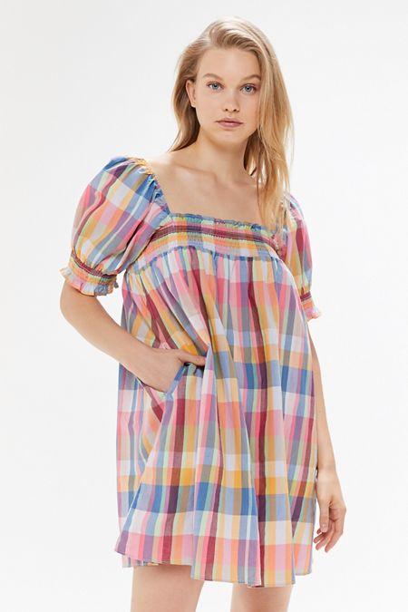 8ecd2efa41 UO Puff Sleeve Babydoll Dress
