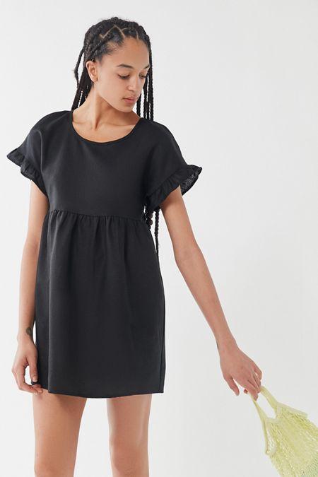 e703733b3a Urban Renewal Remnants Slouchy Textured Shortall Overall.  59.00. Black  Multi · Urban Renewal Remnants Ruffle Sleeve Linen Babydoll Dress